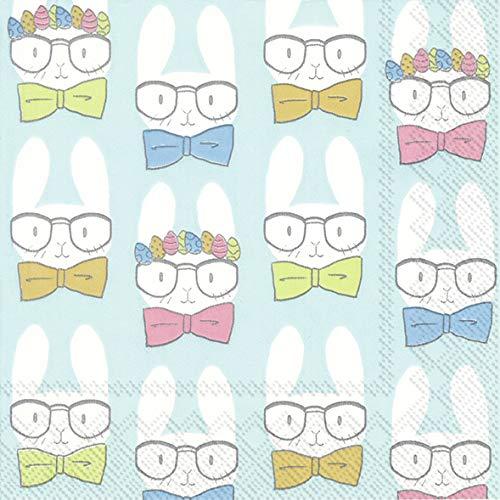 4 tovaglioli di carta per decoupage, 3 strati, 33 x 33 cm, motivo: coniglietti pasquali turchese (4 tovaglioli singoli per artigianato e tovagliolo)