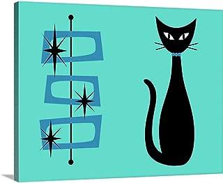 Black Cat with Mid Century Shapes on Aqua Canvas Wall Art Print, 30