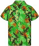 Funky Camisa Hawaiana, Manga Corta, Strelitzie, Verde, XS