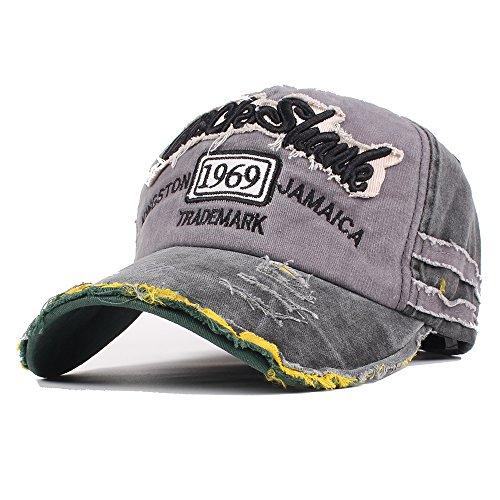 Vankerful Washed Denim Cotton Distressed Baseball Caps Adjustable Snapback Embroidered Trucker Hat (BlackGrey)