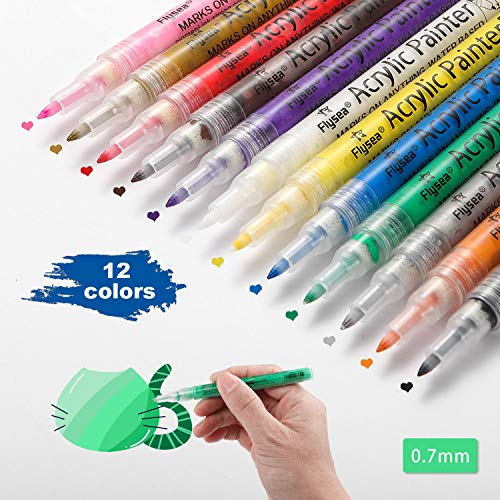 Acrylic Paint Marker Pens Extra Fine Tip Paint Pens for Rock Painting, Canvas, Wood, Glass, Craft Supplies, Fabric, Metal, Plastic, Ceramic, Mug, Tires, Card Making, DIY Photo Album (12 Colors)