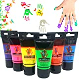 Stelam 6×30ml Botes Pintura de Dedos para niños, Pintura de Dedos,Lavable Pinturas para niños no tóxicas, de Color Natural y ecológico