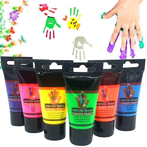 OCEANO 6×30ml Botes Pintura de Dedos para niños, Pintura de Dedos,Lavable Pinturas para niños no tóxicas, de Color Natural y ecológico