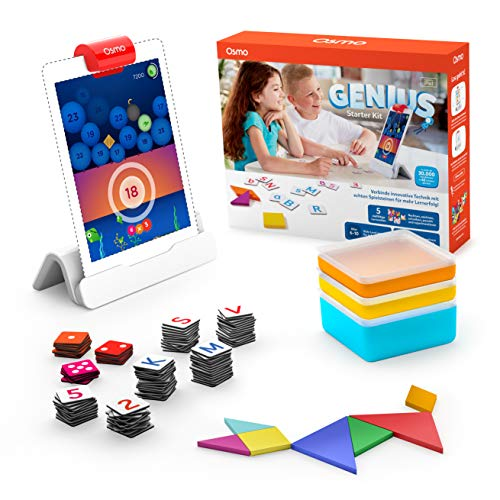 OSMO 901-00041 Genius Starter Kit (Deutsche Fassung) – inklusive 5 vielfältiger Lernwelten-für Kinder von 6 bis 10 Jahren iPad Basis und Reflektor inbegriffen