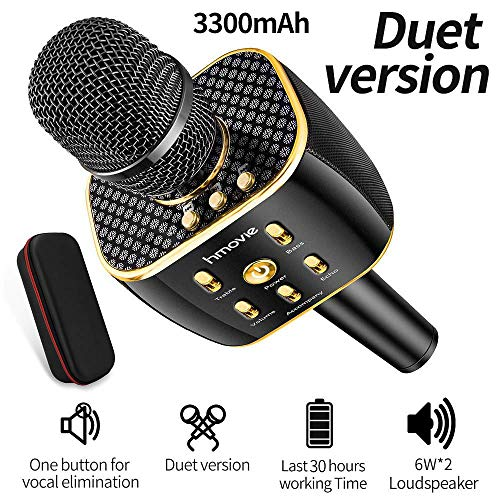 hmovie 【2019 Upgraded】Bluetooth Wireless Karaoke Microphone, 3300mAh Portable handheld Rechargeable Karaoke Machine Dual Speakers with Stereo Sound Party Home Birthday Gift for all iPhone/Android/PC