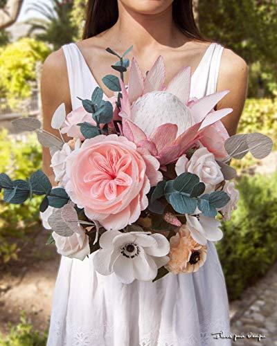 Ramo nupcial de novia de flores de papel con protea, flores realistas para boda, ramo de flores artificiales con rosas inglesas, rosas de té y anémonas blancas