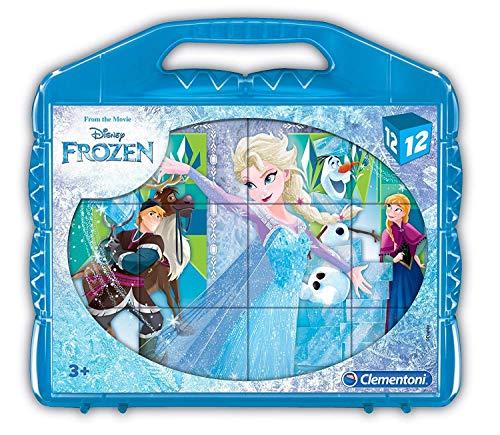 Clementoni- Frozen Rompecabezas maletín 12 Cubos, Multicolo
