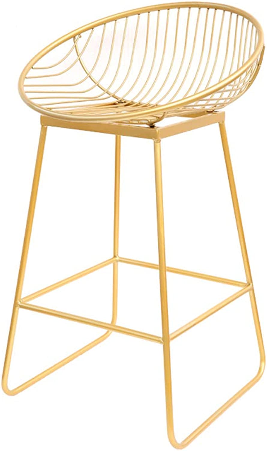 WLJBD golden Wrought Iron Bar Stool Set of 2, Modern Minimalist Leisure Bar Stool High Stool Hollow Design Metal Chair Containing Cushion (H42cm, H62cm) (color   H62cm, Size   1 Pieces)