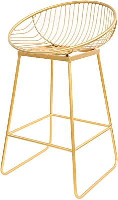 WBBJBD Golden Wrought Iron Bar Stool Set of 2, Modern Minimalist Leisure Bar Stool High