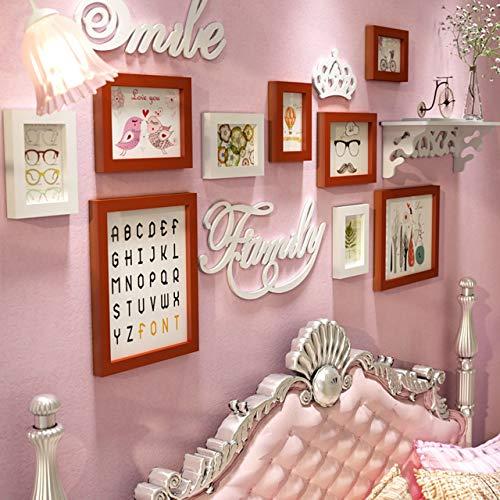 Foto Frames Muurset 9 Stukken Creatieve Decoratie, Foto Frames Pine Hout, Familie Muur fotolijst Set HD plexiglas Beste Home Muurdecoratie voor Meisjes Vrouwen Kamer