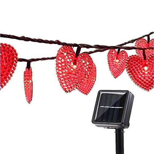 Catene Luminose Esterne,KINGCOO Impermeabile 20ft 30LED Amore Cuore Natale Solare Stellato Decorativo Luci Stringa con 8 modalità per Giardino Nozze Festa Terrazza Illuminazione (Rosso)