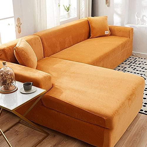 ADIS Funda elástica para sofá de 1 pieza de terciopelo elástico para mascotas y niños, protector de muebles elástico, lavable, fundas para sillón de 3 plazas, 180 – 220 cm, color mostaza