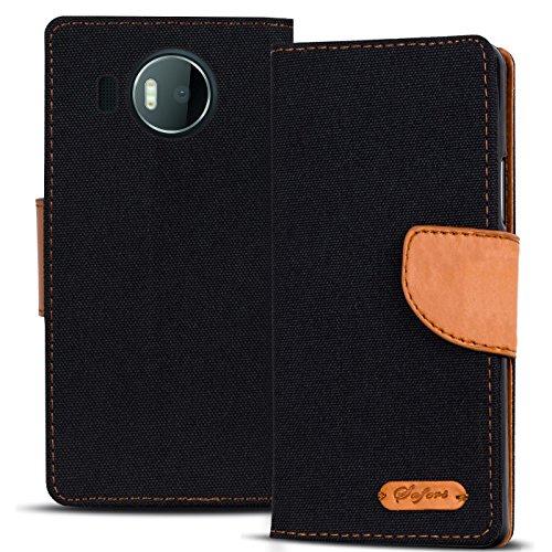 Verco Lumia 950 XL Hülle, Schutzhülle für Microsoft Lumia 950 XL Tasche Denim Textil Book Hülle Flip Hülle - Klapphülle Schwarz