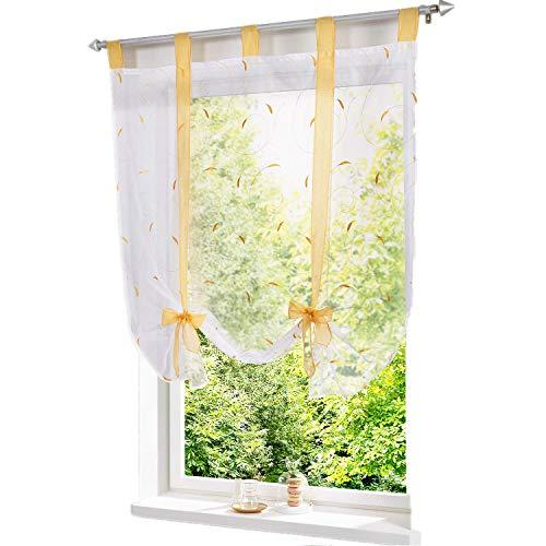 ESLIR Estor con trabillas, cortina para cocina, cortina transparente, cortina con bordado, moderno, color amarillo, 120 x 140 cm, 1 pieza