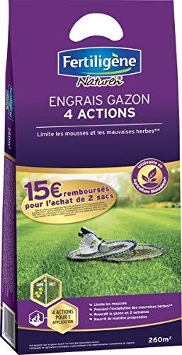 FERTILIGENE Engrais Gazon 4 Actions, 10,5kg, 260m²