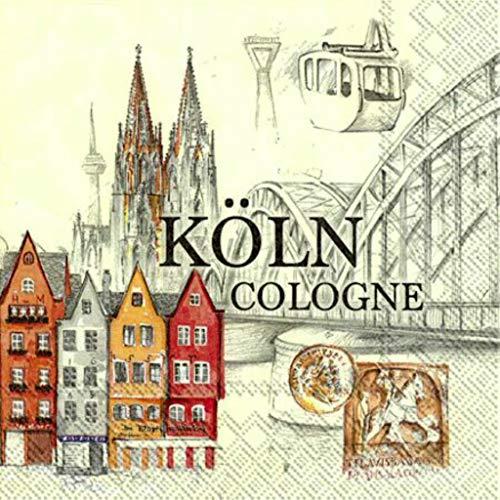 IHR Ideal Köln Serviette Stadt Dom Altstadt Brücke Narren 20 Stück 3-lagig 33x33cm