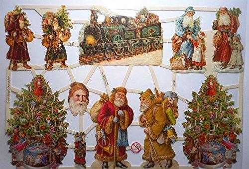 Glanzbilder Weihnachten Weihnachtsmann Zug Lok EF 7243 Oblate Posiebilder Scrapbook Deko GWI 469