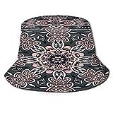 Yoliveya Sombrero de Pesca,Ornamento Decorativo de Colores sobre Fondo Negro,Senderismo para Hombres y Mujeres al Aire Libre Sombrero de Cubo Sombrero para el Sol