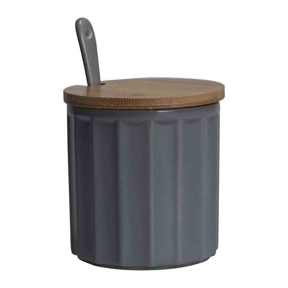 grey Sugar Bowl, Ceramic Sugar Bowl with Sugar Spoon and Bamboo Lid for Home and Kitchen, Elegant Design, 9 OZ (270 ML)