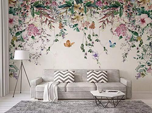 Papier Peint 3D Vigne Aquarelle Fraîche Florale Moderne Intissé Décoration Murale