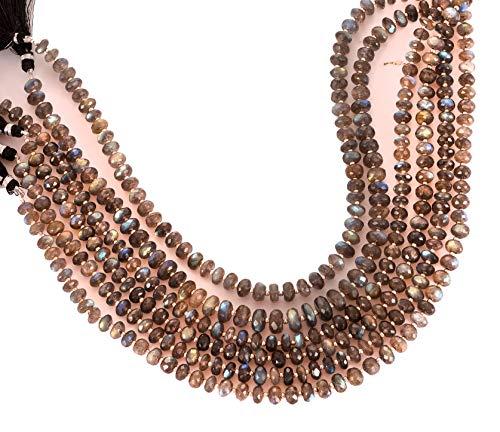 Jaipur Gems Mart Natural AAA Labradorita Micro facetadas Rondelle cuentas | Color gris 7-8 mm Rondelle cuentas facetadas para la fabricación de joyas | 14 pulgadas | Cuentas redondas de 8 mm