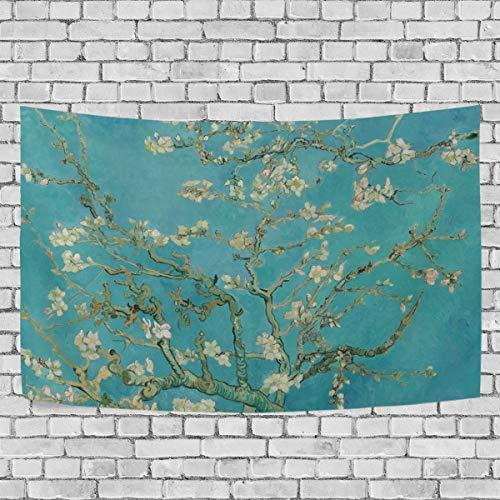 JSTEL Van Gogh Mandelblüte Wandteppich Wandbehang Dekoration für Wohnung Home Decor Wohnzimmer Tisch Überwurf Tagesdecke Wohnheim 150 x 230 cm