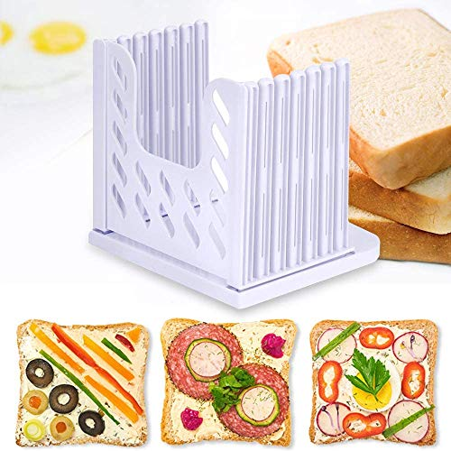 Bread Slicers By BBFZ, Household Toast Slicer, Detachable Storage, Adjustable Thickness Breadcrumb Tray (White)