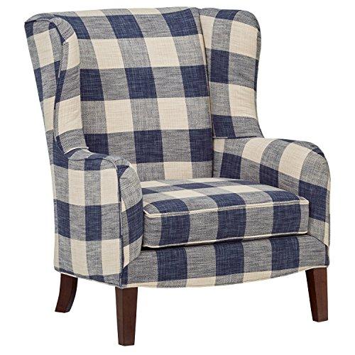 "Stone & Beam Sadie Blue Plaid Living Room Wingback Accent Chair, 33""W, Indigo"