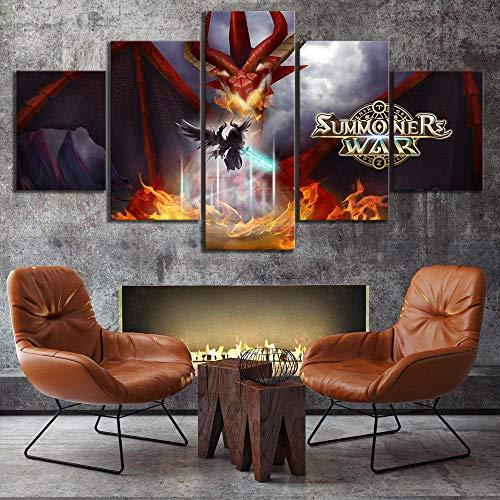FHSFFS Leinwanddrucke Leinwand HD gedruckte Bilder Wandkunst Beschwörer War Sky Arena Kartenspiel Malerei Home Decoration Modular Poster Wohnzimmer Drucke auf Leinwand
