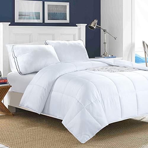 HOMBYS Ganzjahres-Bettdecke aus Bambus, Queen-Size-Größe, gesteppte Daunen-Alternative Tröster-Bettdecke, 100 prozent seidiger Bezug mit 8 Bändern, atmungsaktive Tröster für Nachtschweiß, 228 x cm