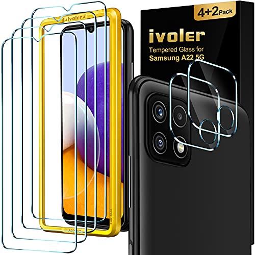 iVoler 4 Pezzi Pellicola Vetro Temperato per Samsung Galaxy A22 5G, con Strumento di Installazione e 2 Pezzi Pellicola Fotocamera, Pellicola Protettiva Protezione Schermo Anti Graffio