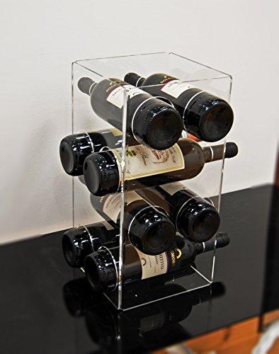 Portabottiglie Porta Bottiglie da Vino da banco in plexiglass Trasparente Agata per 8 Bottiglie