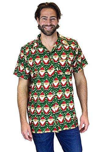 OH Funky Hawaiihemd Weihnachten, Santa Allover, grün, 3XL
