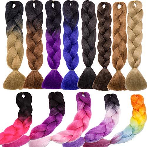 Jumbo Braiding Hair 24 inch Jumbo Braid Hair Extensions Ombre Jumbo Box Braids Crochet Hair Long for Women Kids DIY High Temperature Synthetic Fiber 3 Tones Black+ Purple+ Rose Red 1 Bundle