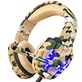 BENGOO Stereo Gaming Headset for PS4, PC, Xbox One Controller, Noise Cancelling Over Ear Headphones Mic, LED Light, Bass Surround, Soft Memory Earmuffs for Laptop Mac Nintendo Switch PS5 –Camouflage