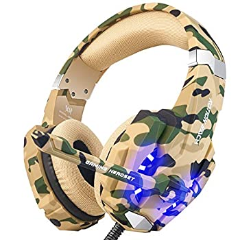 BENGOO Stereo Gaming Headset for PS4 PC Xbox One Controller Noise Cancelling Over Ear Headphones Mic LED Light Bass Surround Soft Memory Earmuffs for Laptop Mac Nintendo Switch PS5 –Camouflage