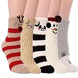 PROETRADE Womens Fuzzy Slipper Fluffy Socks Cozy Cabin Soft Winter Warm Fleece Thick Comfy Christmas Gift Stocking Stuffer Home Plush Socks(Animal Pattern (5 Pairs))