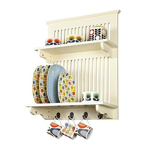 Aston Buttermilk Kitchen Plate Rack, Wooden and Wall Mounted. Solid Top Shelf Above and Hooks Under, Contemporary Design by Elegant Brands