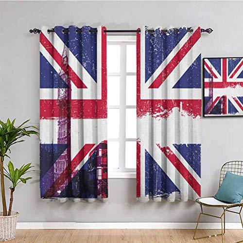 SONGDAYONE - Cortinas aislantes para oscurecimiento de habitación (160 cm, 160 cm), diseño de bandera británica de Big Ben