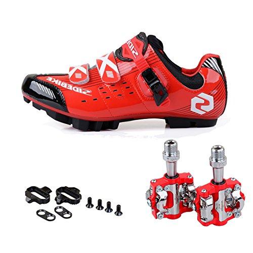 TXJ Chaussures de Vélo Cyclisme de Vtt avec Pédale de vélo de Vtt EU Größe 40 Ft 25cm (SD-003 Rouge / Nior)(Pédale Rouge)