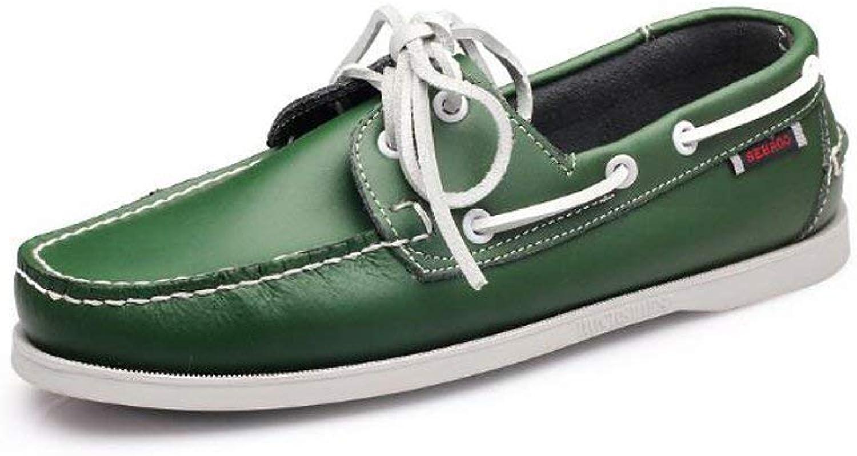 Eeayyygch Außenhandel Große Größe Segeln Schuhe männer Casual Herrenschuhe Lederschuhe Britischen Driving Single Schuhe Männer (Farbe   9059Grün, Größe   39)  | Große Auswahl
