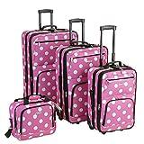 Rockland Polka Softside Upright Luggage Set, Pink Dots, 4-Piece (14/19/24/28)