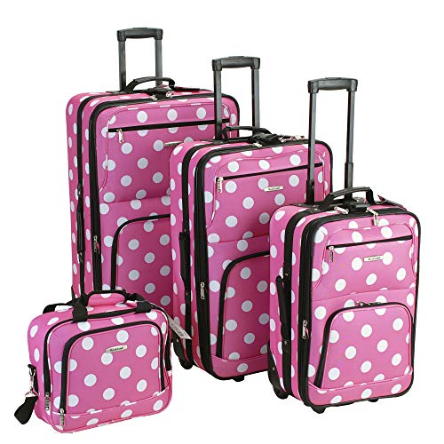 Rockland Polka Softside Upright Luggage Set, Pink Dots, 4-Piece (14/19/24/28)