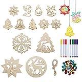 LIHAO 22 Suspension Sapin Noël en Bois avec Corde à Suspendre Stylo à Colorier Grelot pour Décoration Noël Arbre