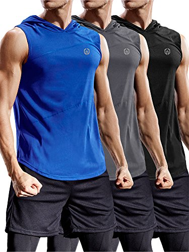 Neleus 3 Pack Workout Athletic Gym Muscle Tank Top with Hoods,5036,Black,Blue,Grey,US 2XL,EU 3XL