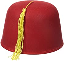 Jacobson Hat Company Men's Adult Red Fez with Gold Tassel (5 Inch Tall)