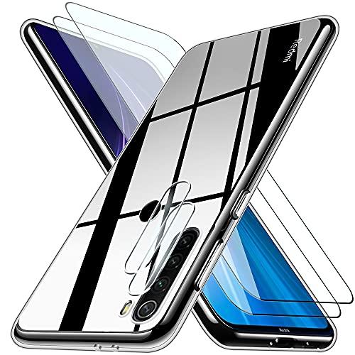 """Pengkun 5 en 1 Funda para Xiaomi Redmi Note 8 con 2 Cristal Templado 2 Cristal Templado para cámara Trasera Transparente Silicona TPU para Xiaomi Redmi Note 8 6,3"""""""