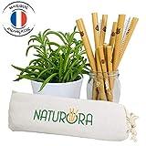 NATURORA Paille Reutilisable en Bambou - Lot 12 Pailles de 15 et 20cm, 100% Naturel et...
