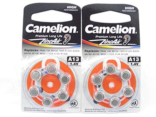 12 Camelion A13 / PR48 / 13A Knopfzelle Zink-Luft für Hörgeräte, 2 x 6-er Pack, Lange Haltbarkeit (Haltbarkeitsdatum markiert)