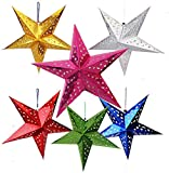 Bakefy- Pack of 5 Multi Paper Star Lantern Lampshade Hanging Christmas Xmas Day Decoration for Wedding Birthday Party Home Decor Hollow Out Design